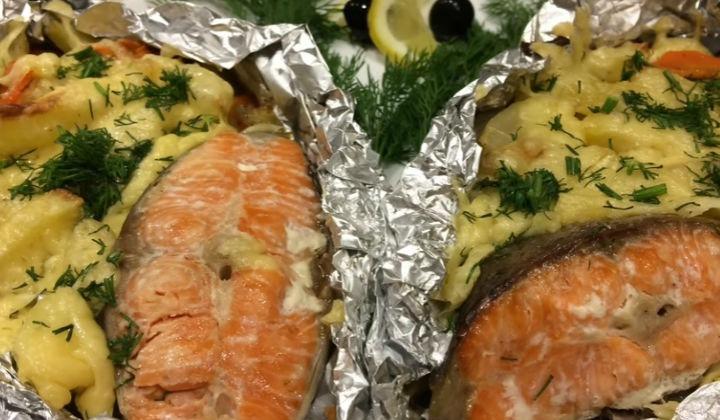 красная рыба запеченная с картофелем в духовке
