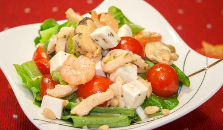 Салат с мидиями и креветками рецепт с очень вкусный