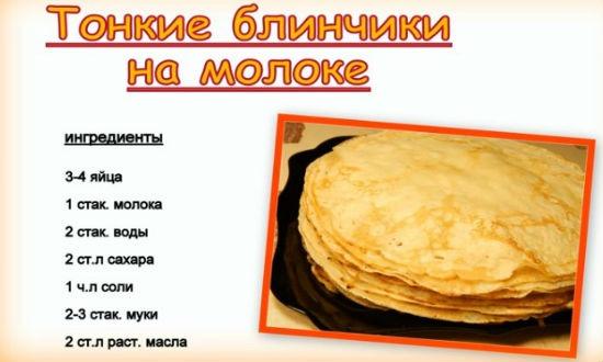 рецепт приготовления блинов на молоке пошаговый рецепт