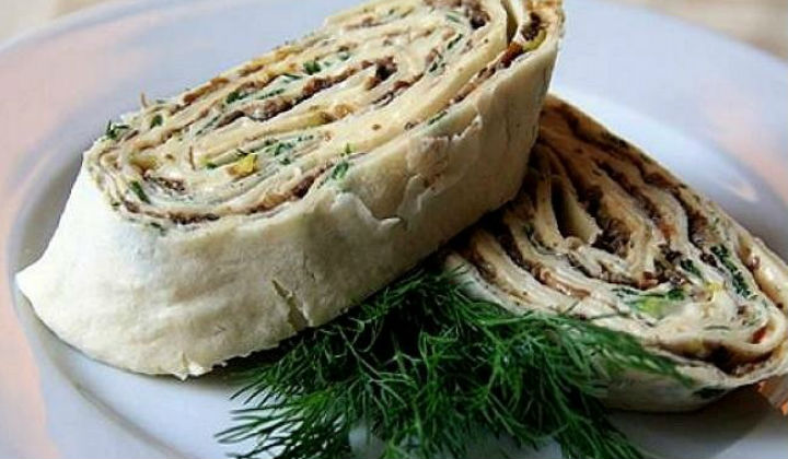 Рулеты из лаваша с сыром и грибами рецепты