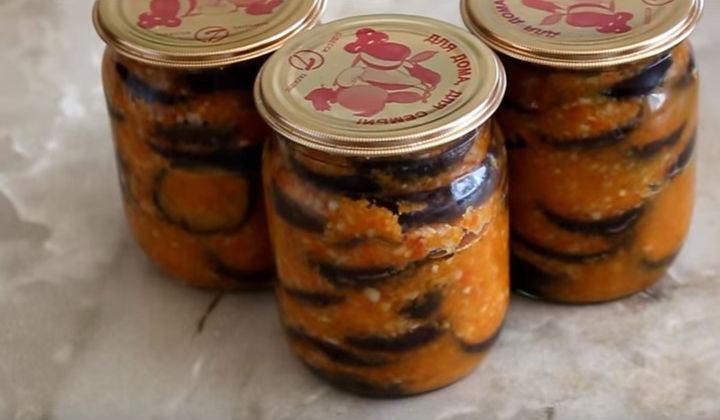Салат из баклажанов на зиму Огонёк