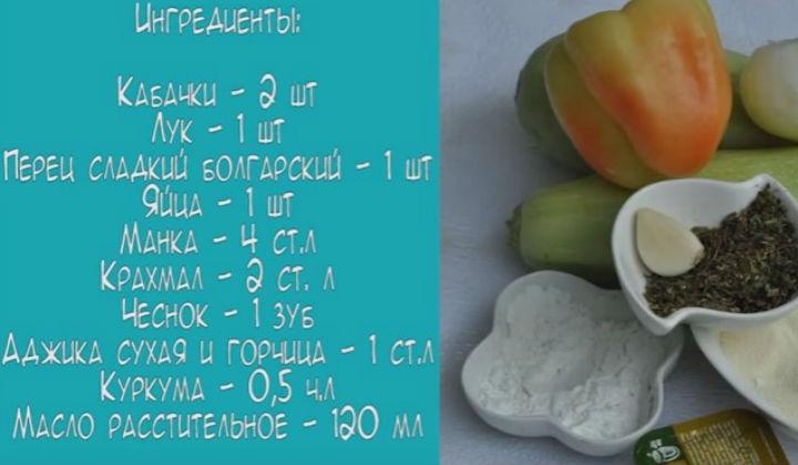 Ингредиенты для оладьев с манкой