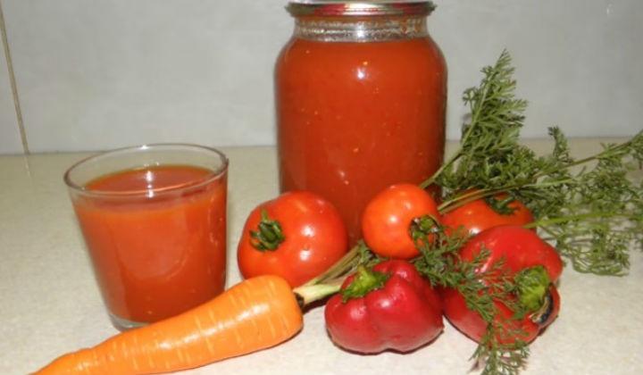 Томатный сок на зиму в домашних условиях с овощами