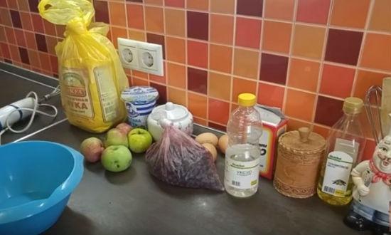 Необходимые продукты для шарлотки