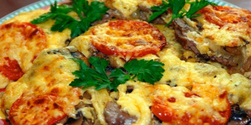 Мясо по французски с грибами