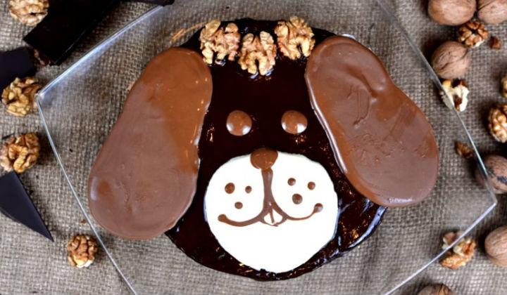 Новогодний торт в виде собаки