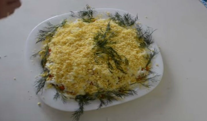 Салат Мимоза с грибами