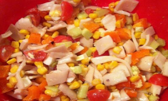 салат с кальмарами Весенний