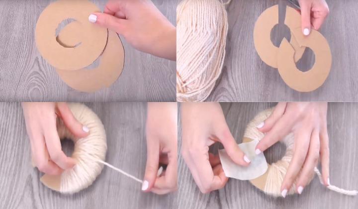 помпон картон нитки