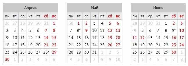 Календарь на 2018 год с праздниками и выходными
