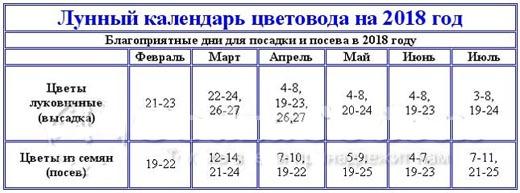 Лунный календарь для цветоводов