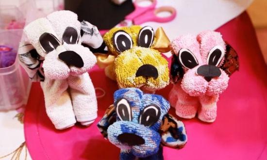 Готовые собачки из полотенца