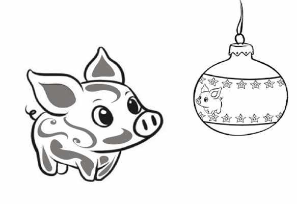 трафарет свинка