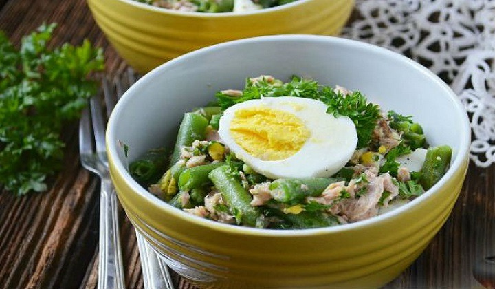 Фасолевый салат с тунцом