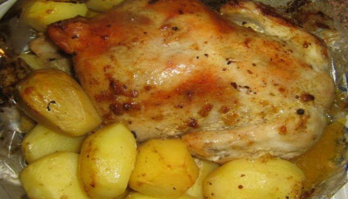 курица в духовке в рукаве