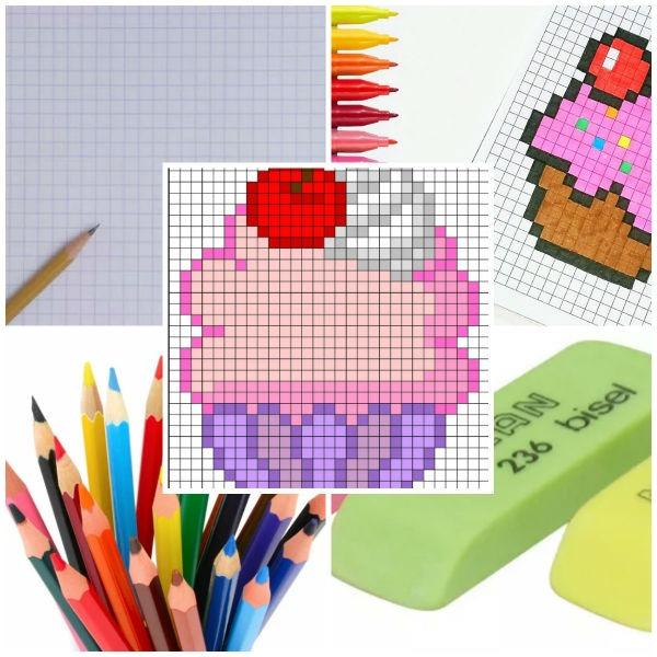 2_kletka Рисунки по клеточкам в тетради для начинающих, лёгкие и сложные