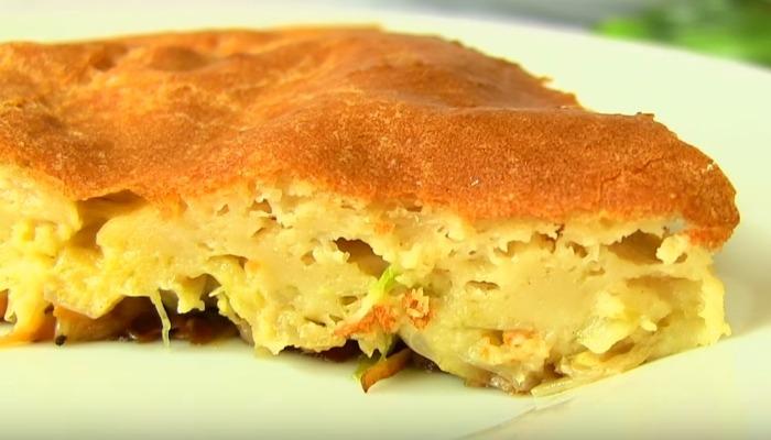 заливной ленивый пирог с капустой