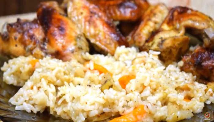 готовоеи блюдо крылышки с рисом