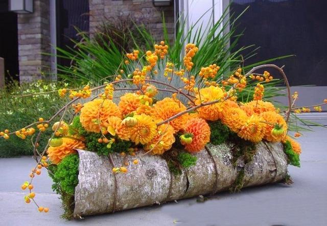 цветы в берёзовой бересте
