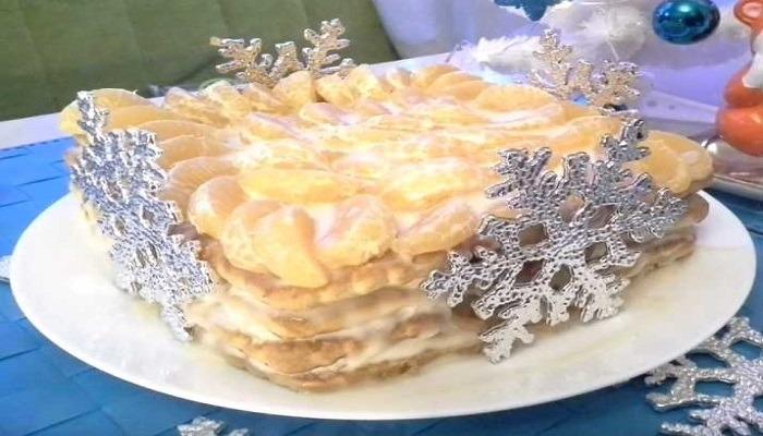 торт без выпечки, новогодний