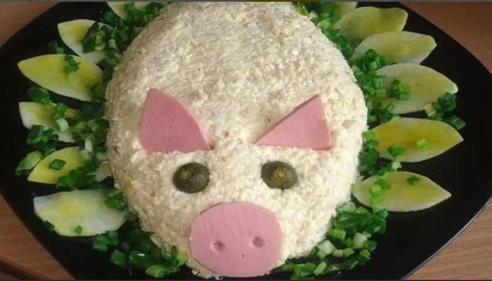 Салат новогодний в виде свинки «Нежность»