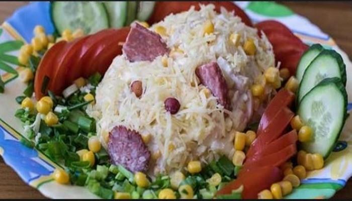Новогодний салат «Свинка»