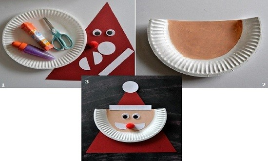 Дед мороз из одноразовых бумажных тарелок