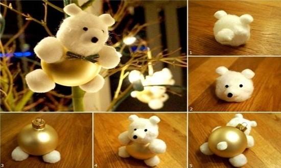 Елочная игрушка - Медвежонок из войлока