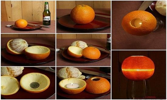 подсвечник из апельсиновых корок