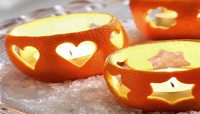 подсвечники из апельсиновых корок