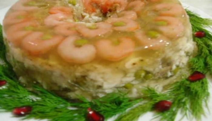 заливное из трески с креветками