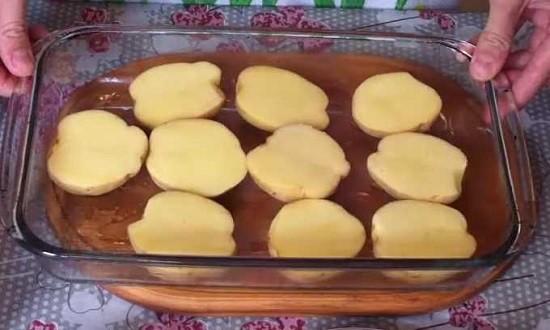 картофель выложить на противень