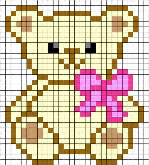 рисунок медвежонок по клеточкам