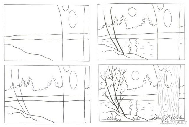 поэтапная прорисовка пейзажа