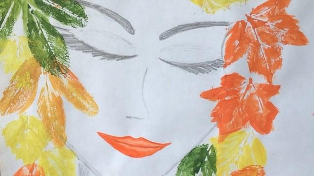 портрет в листьях