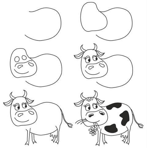 как нарисовать корову