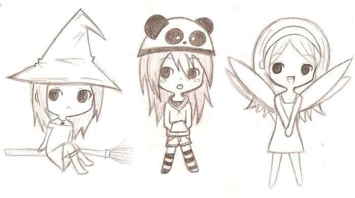 очень лёгкие и красивые рисунки аниме для срисовки карандашом