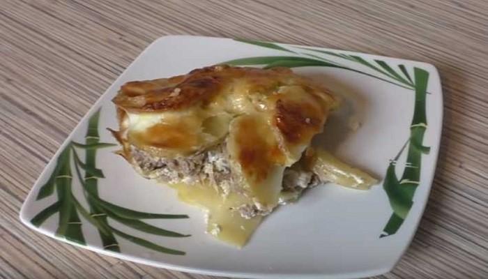 Запеканка из кабачков с фаршем и картошкой в духовке