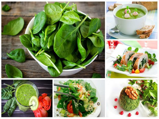 шпинат в разных блюдах