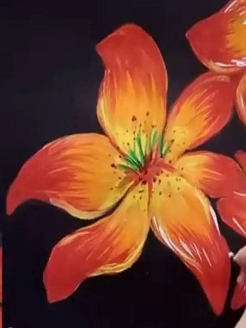 цветок гуашью
