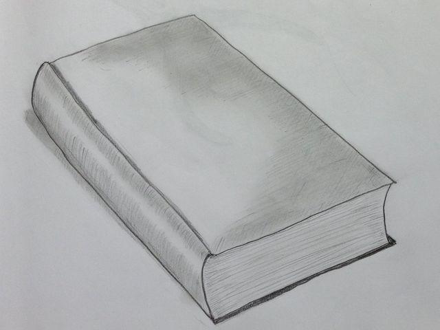 книга, нарисованная карандашом