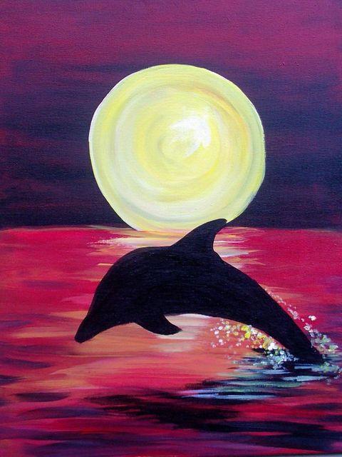 ночной пейзаж с дельфином