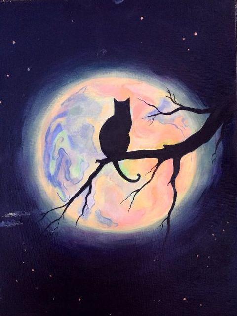 ночной рисунок с кошкой