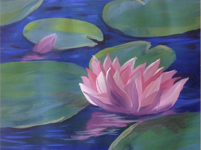 картина - лилия в воде