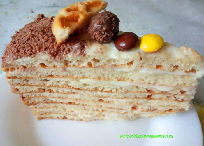 Торт творожный с кремом
