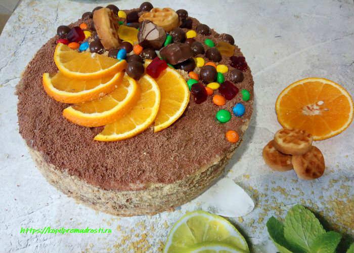 Творожный торт с заварным кремом