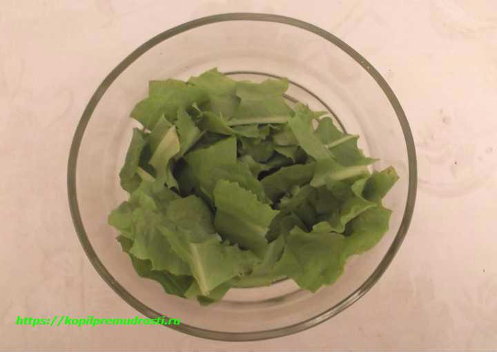 листья салата в миске