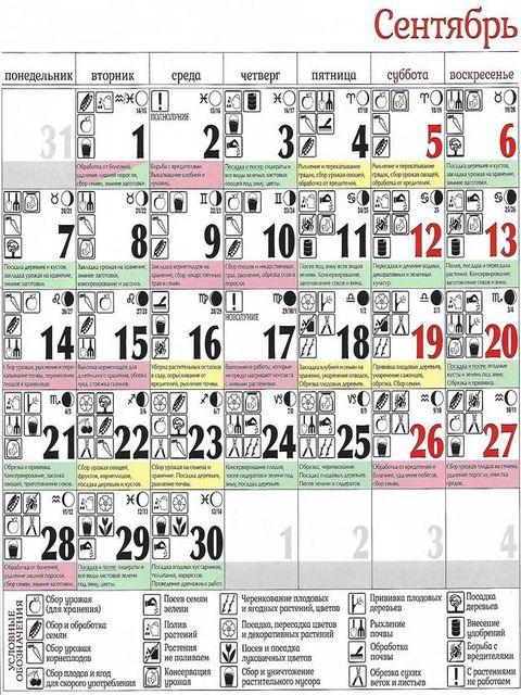 календарь на сентябрь