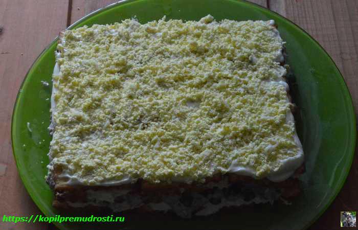Рыбный торт-салат с крекером